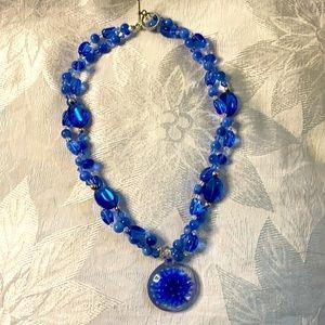 Royal Blue flower pendant necklace